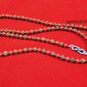 Rudraksha And Coral Combination Mala