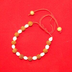 Rudraksha And Moti Bracelet