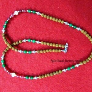 Rudraksha Moti Red And Green Onyx Combination Mala