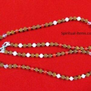 Rudraksha Coral Moti And Spatic Combination Mala