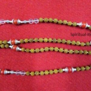Rudraksha Spatic And Coral Combination Mala