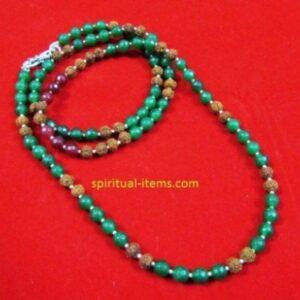 Rudraksha Red And Green Onyx Combination Mala