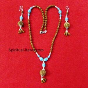 Rudraksha And Turquoise Combination Mala