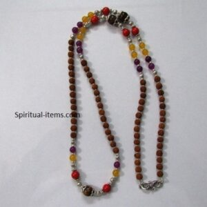 Rudraksha Coral Tigers Eye Amethyst And Coral Mala