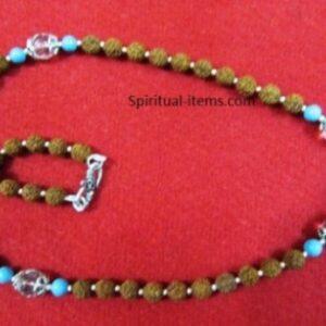 Rudraksha Spatic And Turquoise Combination Mala